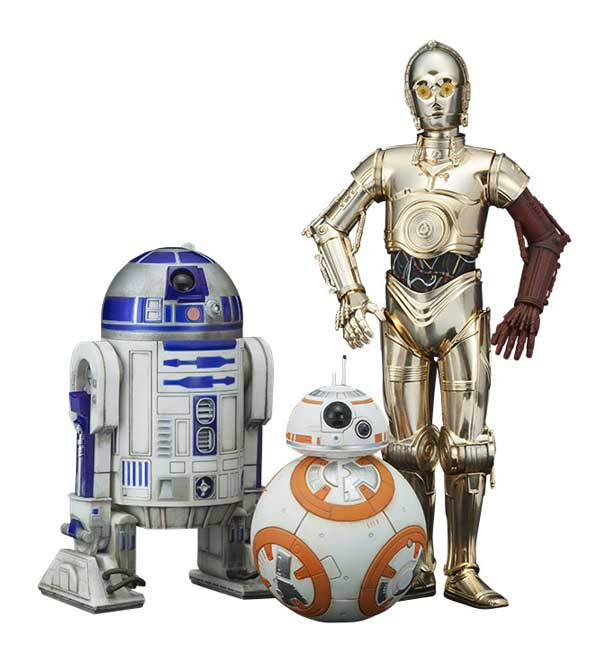 Star Wars VII PVC Staty 3-Pack C-3PO R2-D2 BB-8